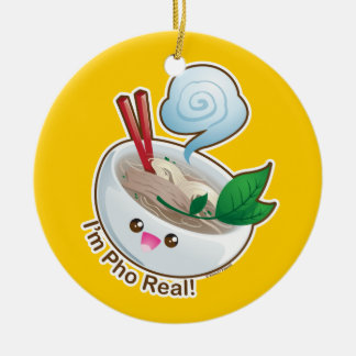 Kawaii Pho Real Double-Sided Ceramic Round Christmas Ornament