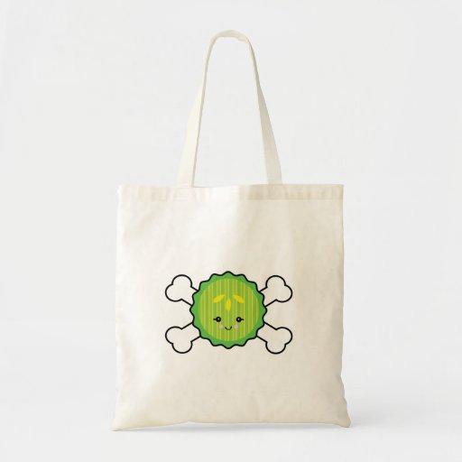 kawaii pickle slice and crossbones design budget tote bag