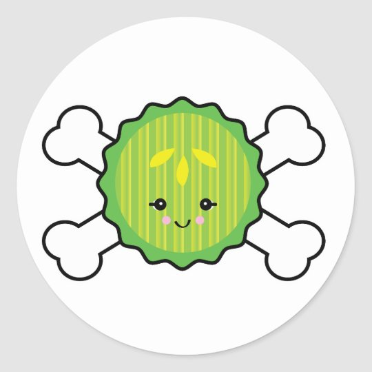 kawaii pickle slice and crossbones design classic round sticker