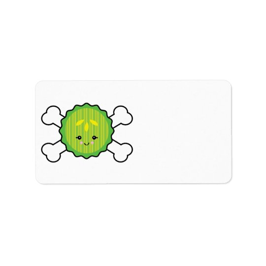kawaii pickle slice and crossbones design label