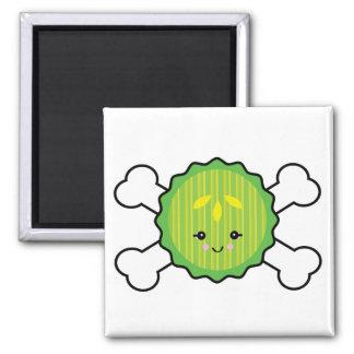 kawaii pickle slice and crossbones design refrigerator magnets