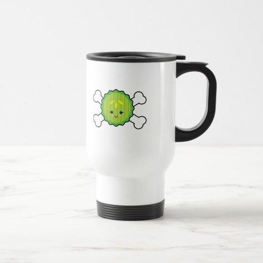 kawaii pickle slice and crossbones design coffee mugs