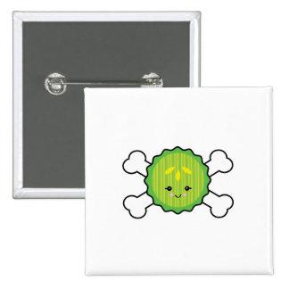 kawaii pickle slice and crossbones design pins