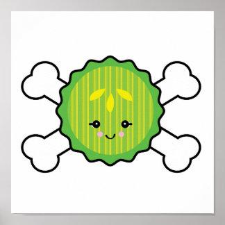 kawaii pickle slice and crossbones design print