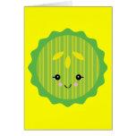 kawaii pickle slice greeting card