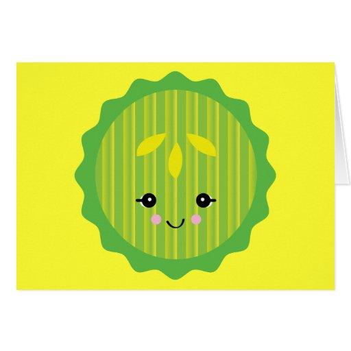 kawaii pickle slice greeting cards