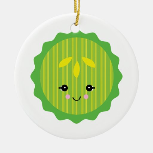 kawaii pickle slice Double-Sided ceramic round christmas ornament