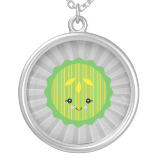 kawaii pickle slice round pendant necklace