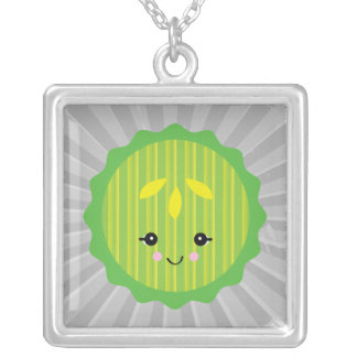 kawaii pickle slice square pendant necklace