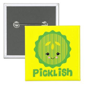kawaii picklish pickle slice 2 inch square button