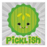 kawaii picklish pickle slice poster