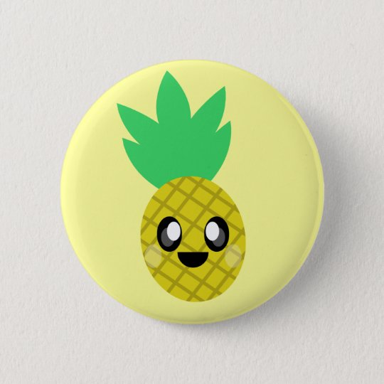 kawaii pineapple fruit face so happy cute pinback button