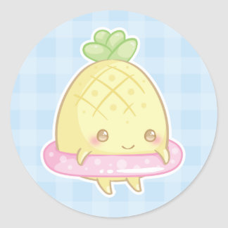 Kawaii Pineapple in Cute Pink Floatie Sticker