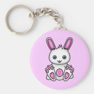 Kawaii Pink Bunny Basic Round Button Keychain
