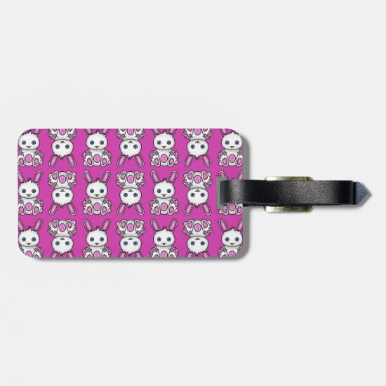 Kawaii Pink Bunny Pattern Luggage Tag
