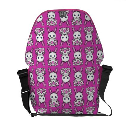 Kawaii Pink Bunny Pattern Messenger Bags