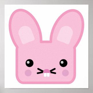 kawaii pink bunny poster