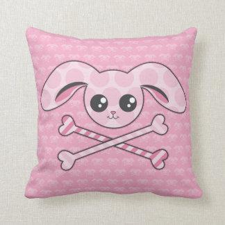 Kawaii Pink Bunny Skull Throw Pillow
