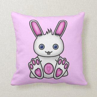 Kawaii Pink Bunny Throw Pillow