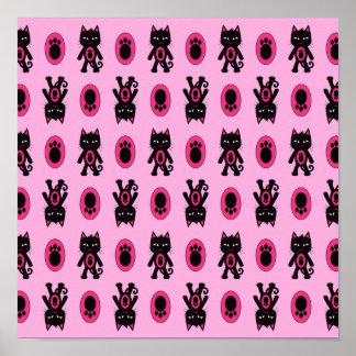 Kawaii Pink Cat and Paw Print Pattern