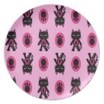 Kawaii Pink Cat and Paw Print Pattern Dinner Plate