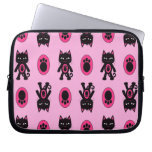 Kawaii Pink Cat and Paw Print Pattern Computer Sleeve