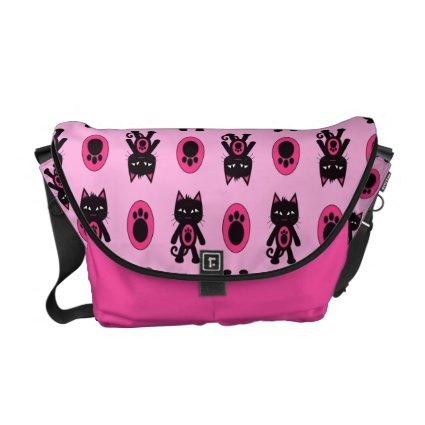 Kawaii Pink Cat and Paw Print Pattern Messenger Bags