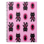 Kawaii Pink Cat and Paw Print Pattern Note Book