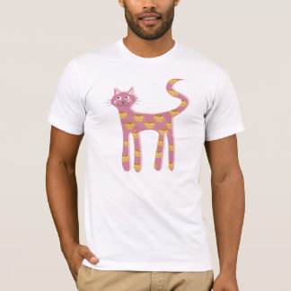 Kawaii pink cat with pie pattern T-Shirt
