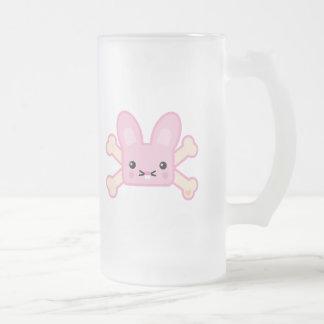kawaii pink crossbones bunny frosted glass beer mug