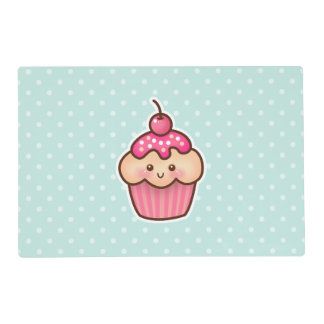 Kawaii Pink Cupcake and Cute Mint Blue Polka Dots Placemat