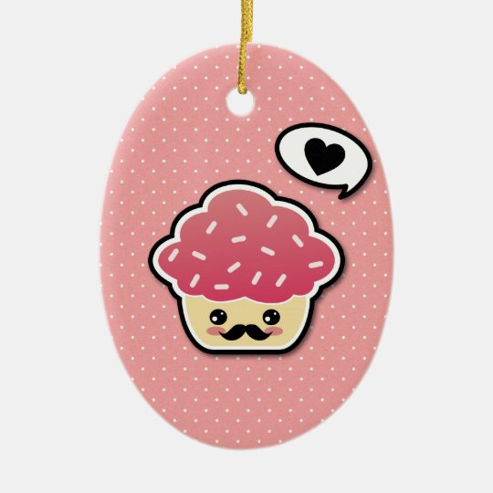 Kawaii Pink Cupcake with a Mustache Ceramic Ornament