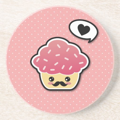 Kawaii Pink Cupcake with a Mustache Beverage Coasters