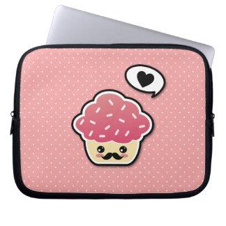 Kawaii Pink Cupcake with a Mustache Computer Sleeve