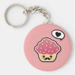 Kawaii Pink Cupcake with a Mustache Basic Round Button Keychain