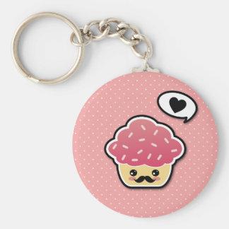 Kawaii Pink Cupcake with a Mustache Keychain