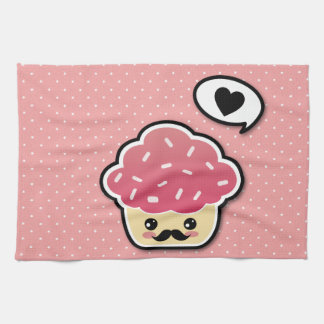 Kawaii Pink Cupcake with a Mustache Hand Towels