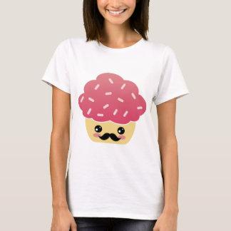 Kawaii Pink Cupcake with a Mustache T-Shirt