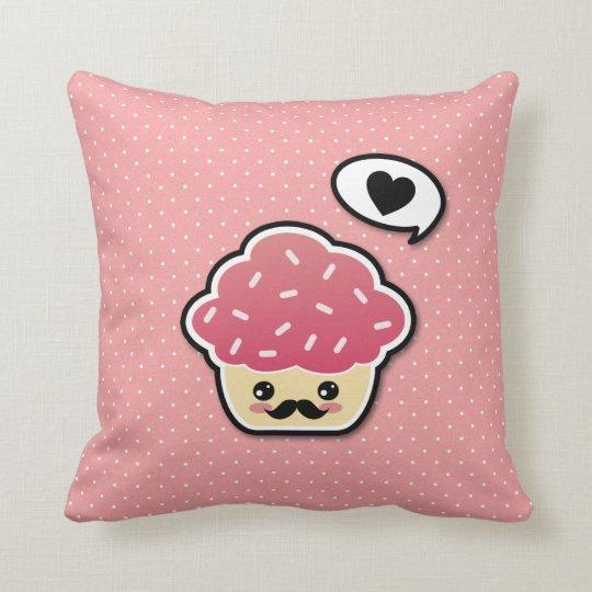 Kawaii Pink Cupcake with a Mustache Throw Pillow