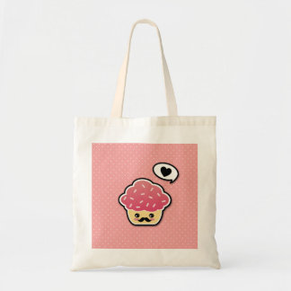 Kawaii Pink Cupcake with a Mustache Tote Bag