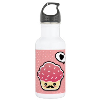 Kawaii Pink Cupcake with a Mustache Water Bottle