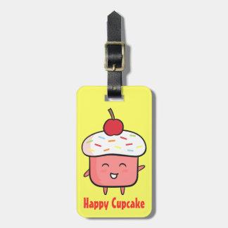 Kawaii Pink Cupcake with Cherry Topping Luggge Tag
