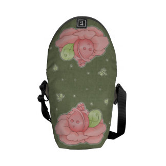 Kawaii Pink Flower Blossom And Green Fairies Courier Bag