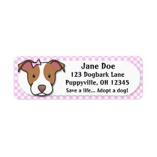 Kawaii Pink Gingham American Pit Bull Terrier Custom Return Address Label
