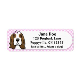 Kawaii Pink Gingham Basset Hound Custom Return Address Label