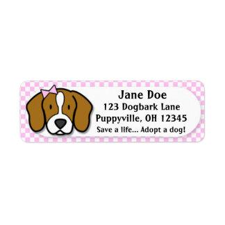 Kawaii Pink Gingham Beagle Label