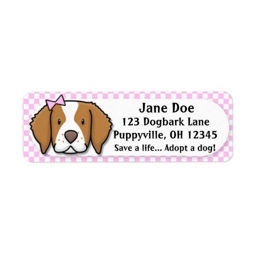 Kawaii Pink Gingham Brittany Spaniel Custom Return Address Label