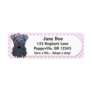 Kawaii Pink Gingham Kerry Blue Terrier Return Address Label