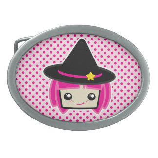 Kawaii Pink Haired Witch Belt Buckle