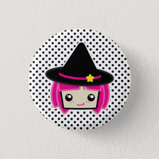 Kawaii Pink Haired Witch Button
